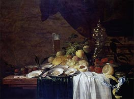 Still Life with Fruit and Oysters, 1643 by de Heem | Painting Reproduction