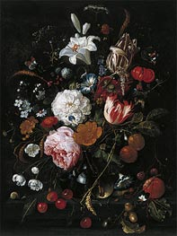Flowers in a glass Vase with Fruit | de Heem | Gemälde Reproduktion