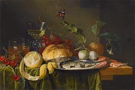 Still Life with Glass of Wine and Herring | de Heem | Gemälde Reproduktion