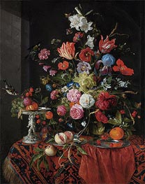 Flowers in a Glass Vase with Birds | de Heem | Gemälde Reproduktion