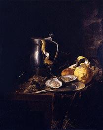 Still Life with a Pewter Jug, Oysters and a Lemon, 1633 by de Heem | Painting Reproduction