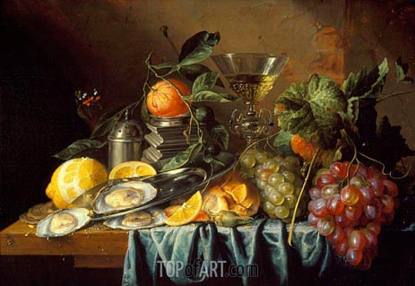 Still Life with Oysters and Grapes, 1653 | de Heem | Painting Reproduction