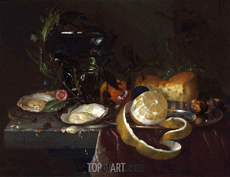 de Heem | Still Life with Oysters and a Peeled Lemon, undated