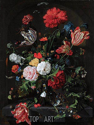 Flowers in a Glass Vase, c.1660 | de Heem| Painting Reproduction