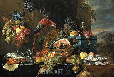 Sumptuous Still Life with Parrot, c.1660 | de Heem| Painting Reproduction