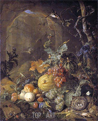 Still Life with Bird's Nest,  | de Heem | Painting Reproduction