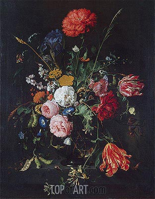 Flowers in a Vase, Undated | de Heem | Painting Reproduction