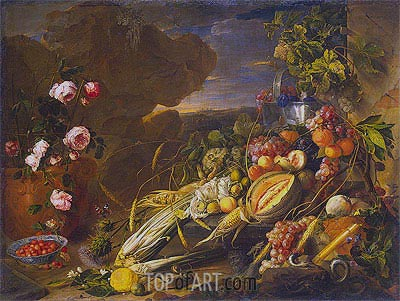 Fruit and a Vase of Flowers, 1655 | de Heem | Gemälde Reproduktion