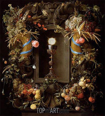Communion Cup and Host, Encircled with a Garland of Fruit, 1655 | de Heem| Painting Reproduction