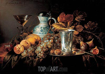 Fruit Still Life with a Silver Beaker , 1648 | de Heem| Gemälde Reproduktion