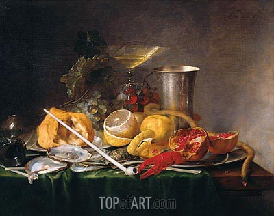 Still Life, Breakfast with Glass of Champagne and Pipe, 1642 | de Heem | Gemälde Reproduktion