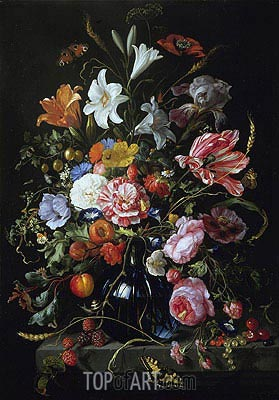Vase with Flowers, c.1670 | de Heem | Gemälde Reproduktion
