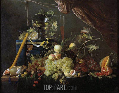 Fruit Still Life with Jewelry Box, c.1650/55 | de Heem| Painting Reproduction