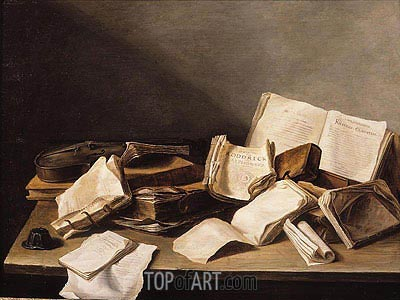 Still Life with Books, 1628 | de Heem | Gemälde Reproduktion