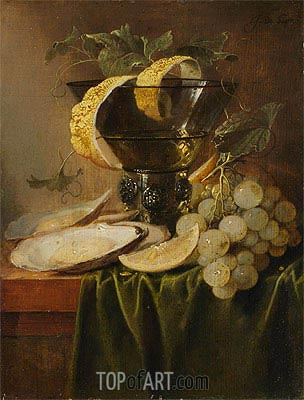Still Life with a Glass and Oysters, c.1640 | de Heem | Gemälde Reproduktion
