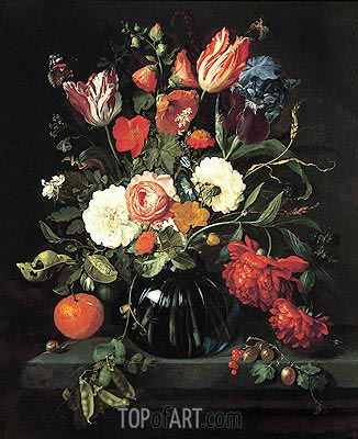 Vase of Flowers, 1654 | de Heem| Painting Reproduction