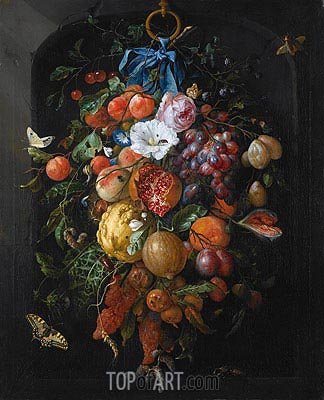 Festoon of Fruit and Flowers, c.1635/84 | de Heem | Painting Reproduction