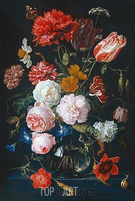 Still Life with Flowers in a Glass Vase, 1683 | de Heem| Painting Reproduction