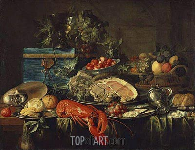 Still life with Lobster, 1643 | de Heem| Painting Reproduction