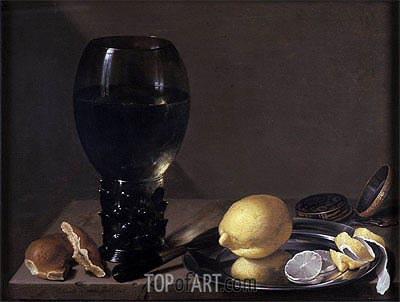 Still life with Wine Glass, 1628 | de Heem | Painting Reproduction