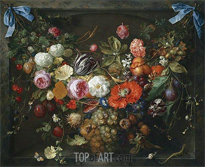 A Festoon of Fruit and Flowers in a Marble Niche, 1675 | de Heem| Painting Reproduction