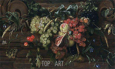 Still Life with White and Blue Grapes, 1653 | de Heem | Gemälde Reproduktion