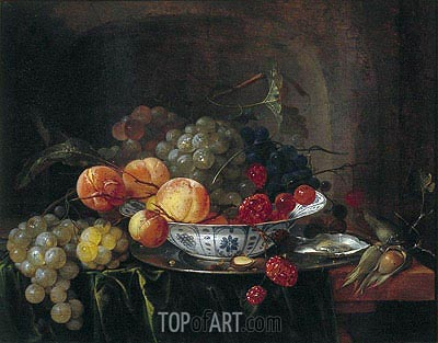 Still Life with Chinese Bowl, Fruit and Oysters, 1640 | de Heem | Painting Reproduction