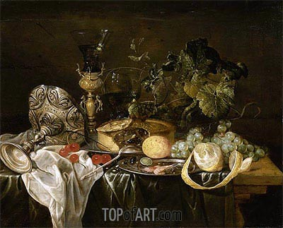 de Heem | Still Life with Fruit, Pie and Drinking Utensils, Undated