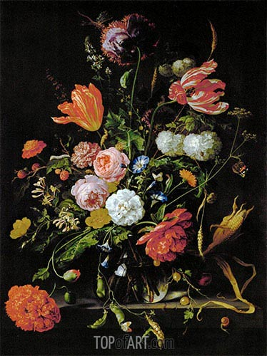 Still Life with Flowers, c.1650/60 | de Heem| Gemälde Reproduktion