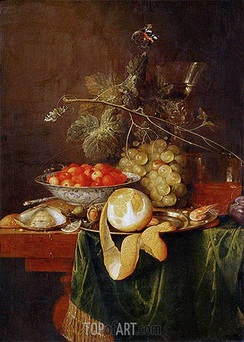 Still Life with Peeled Lemon, 1650 | de Heem | Gemälde Reproduktion