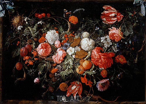 Still Life with Garland of Fruit and Flowers, c.1669 | de Heem | Painting Reproduction