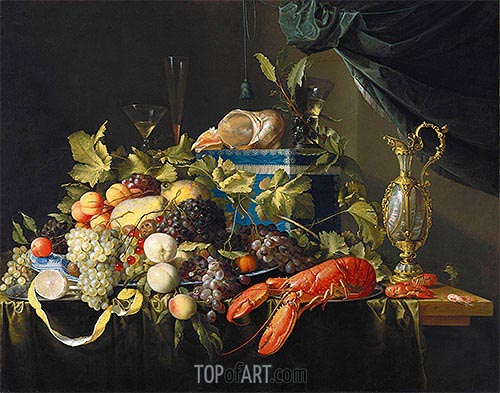 Still Life with Fruit and Lobster, undated | de Heem| Painting Reproduction