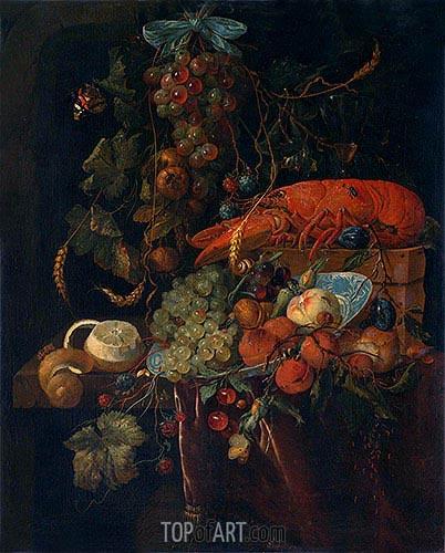 Stilleven met vruchten en een kreeft, undated | de Heem | Gemälde Reproduktion
