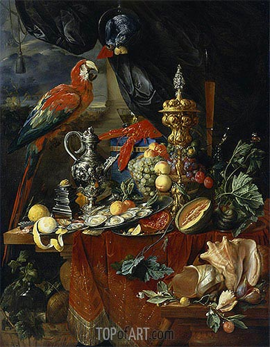 Still Life with Parrots, c.1646/49 | de Heem | Painting Reproduction