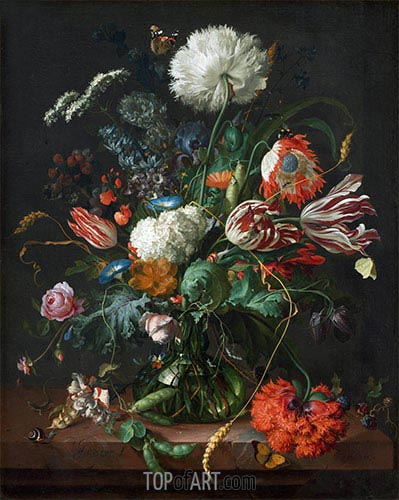 Vase of Flowers, c.1660 | de Heem | Painting Reproduction