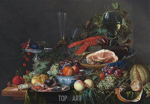 Still Life with Ham, Lobster and Fruit, c.1653 | de Heem | Painting Reproduction