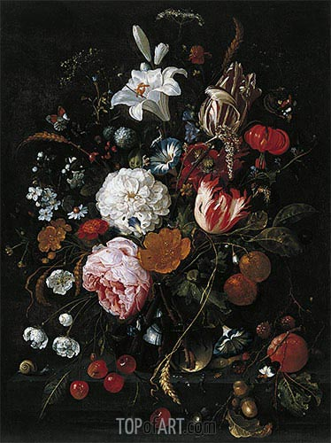 Flowers in a glass Vase with Fruit, c.1665 | de Heem| Painting Reproduction