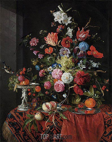 Flowers in a Glass Vase with Birds, undated | de Heem | Painting Reproduction
