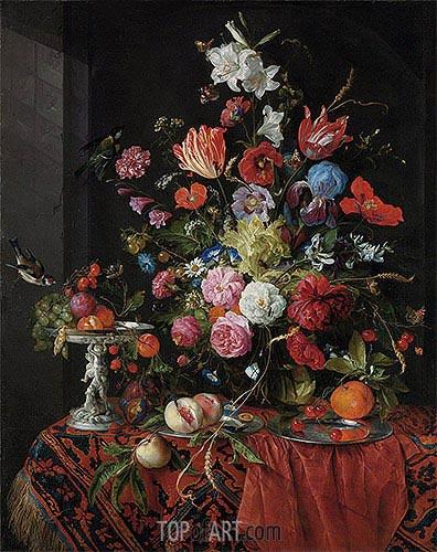 de Heem | Flowers in a Glass Vase with Birds, undated