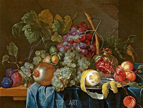 Still Life with Grape and Lemon, 1654 | de Heem| Painting Reproduction