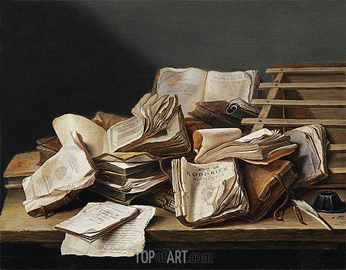 Still Life with Books, 1628 | de Heem | Painting Reproduction