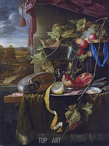 Still Life with Shell, Peeled Lemon and Pomegranate, undated | de Heem| Gemälde Reproduktion