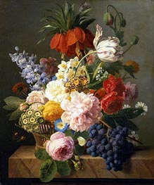 Still Life with Flowers and Fruit, 1827 by van Dael | Painting Reproduction