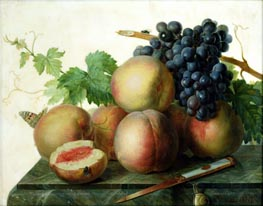Still Life with Peaches and Grapes on Marble, undated by van Dael | Painting Reproduction