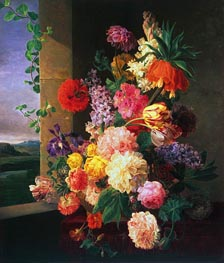 Flowers Before a Window, 1789 by van Dael | Painting Reproduction