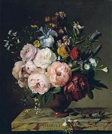 A Vase of Flowers on a Ledge, 1817 by van Dael | Painting Reproduction