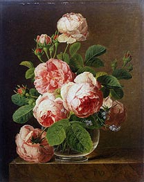 Still Life of Roses in a Glass Vase, undated by van Dael | Painting Reproduction
