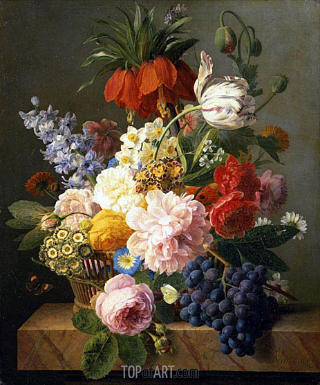 Still Life with Flowers and Fruit, 1827 | van Dael | Painting Reproduction