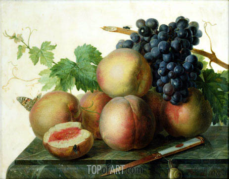 Still Life with Peaches and Grapes on Marble, undated | van Dael | Painting Reproduction