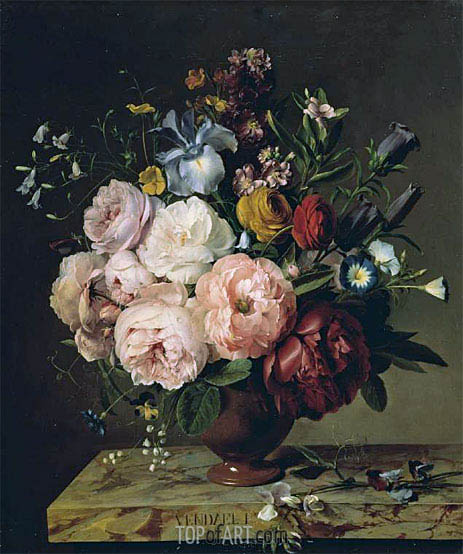 A Vase of Flowers on a Ledge, 1817 | van Dael | Gemälde Reproduktion